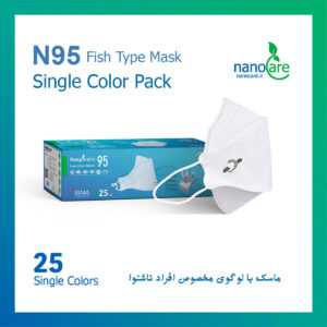 ماسک تنفسی نانو سه بعدی مدل فیش سایز بزرگ رسپینانو N95 مخصوص ناشنوایان – بسته ۲۵ عددی